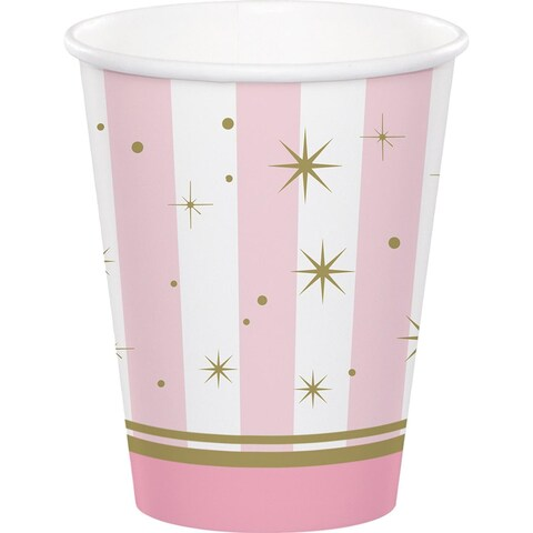 Club Pack of 96 Pink and White Decorative Twinkle Toes Hot Cold Cups 5.6