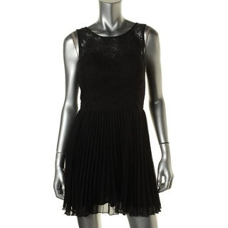 Trixxi Womens Juniors Party Dress Illusion Pleated
