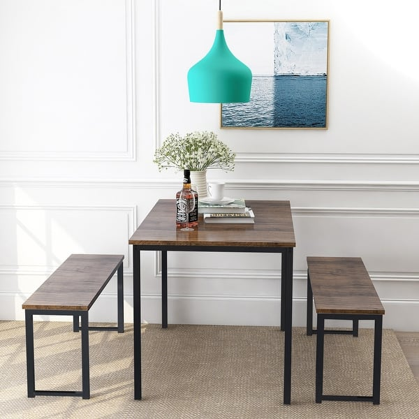 Shop 3-Piece Dining Table Set Kitchen Table with Two Benches ...