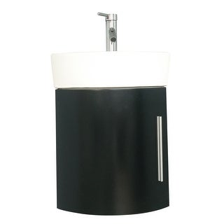 Corner Wall Mount Bathroom Vanity Sink Combo White Sink With Black Vanity