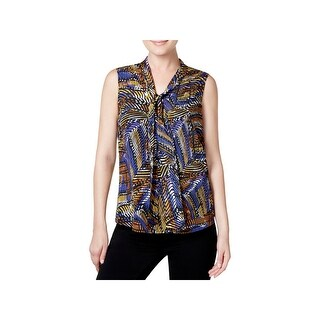 Kasper Womens Blouse Printed Tie-Neck