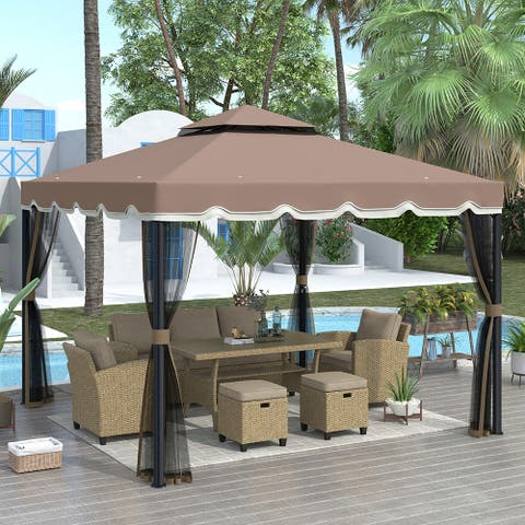 Outdoor Steel Vented Dome Top Patio Gazebo with Netting for Backyard
