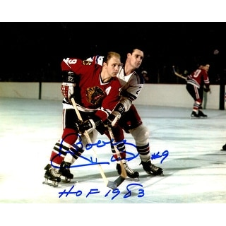 Bobby Hull Signed Blackhawks Defending Action 8x10 Photo w/HOF 1983