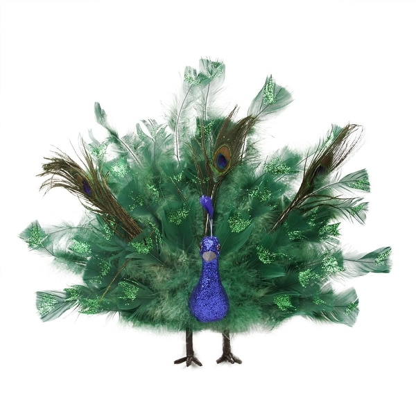 "14"" Colorful Regal Peacock Bird with Open Tail Feathers Christmas Decoration"
