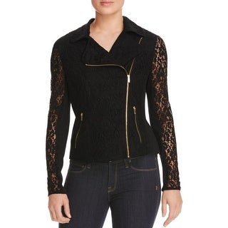 Calvin Klein Womens Motorcycle Jacket Lace Mixed Media