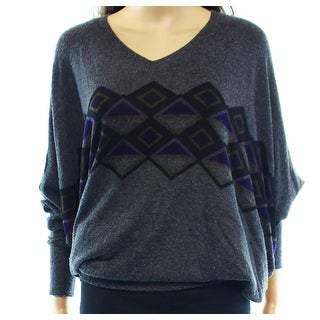 Go Couture NEW Gray Charcoal Print Dolman-Sleeve Small S Tunic Sweater