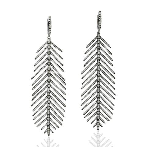 Silver 925 Diamond Leaf Dangle Earring Pave Jewelry With Jewelry Box