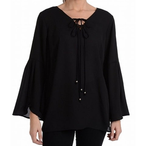NY Collection Black Women's Size Small S Bell Sleeve Tie Blouse