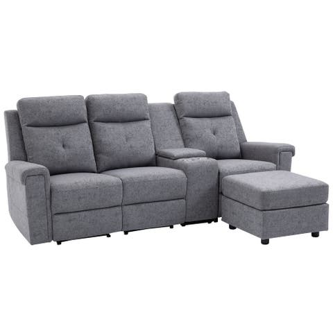 HOMCOM Modern L-shaped Sofa Manual Reclining Sectional with Chaise 3 Seater Home Theater Recliner