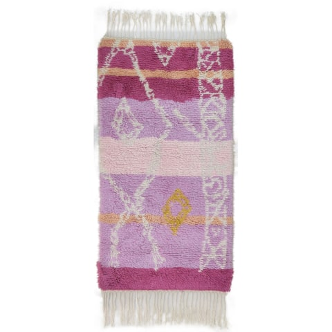 """One of a Kind Hand-Knotted Shag 3' x 5' Geometric Wool Pink Rug - 2'8""""x5'2"""""""