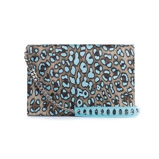 Roberto Cavalli Women's Large Blue Cheetah Print Juno Clutch - L