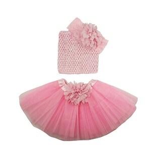 Girls Light Pink Flower Tutu Skirt Lace Headband Set 0-8Y