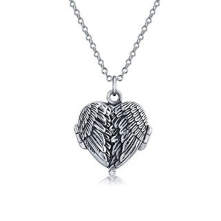 .925 Sterling Silver Feather Angel Wing Heart Locket Pendant Necklace 18 Inch