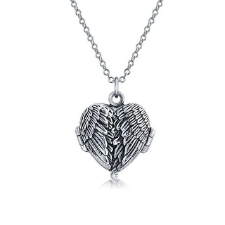 Guardian Angel Wing Feathered Heart Locket Pendant Necklace For Women Antiqued 925 Sterling Silver Chain 18 Inch