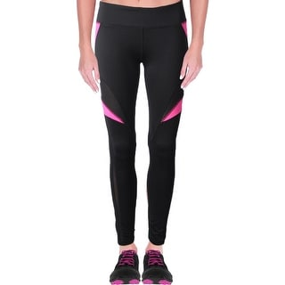 Central Park Womens Athletic Leggings Mesh Inset Colorblock Black M