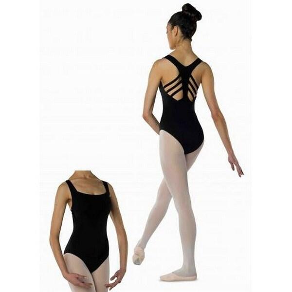 Danshuz Womens Black Fishbone Strap Back Design Cotton Blend Leotard P-XL