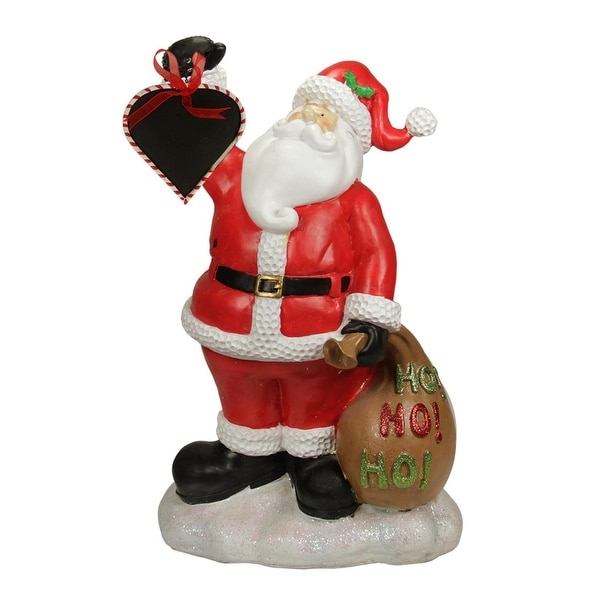 """19"""" Festive Santa Claus Holding Toy Sack and Blackboard Christmas Countdown Statue - RED"""