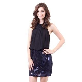 Short Sequin Blouson Dress