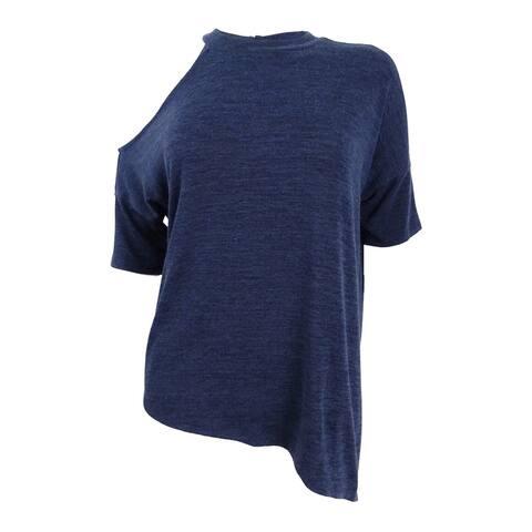 Bar III Women's Asymmetrical Cold-Shoulder Top (S, Navy Blazer) - Navy Blazer - S