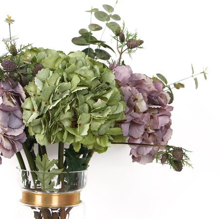 G Home Collection Luxury Silk Single Hydrangea Stem in Green and Purple Fruit or Plant