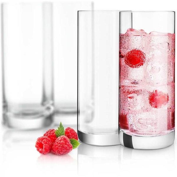 JoyJolt Stella Non-Leaded Crystal High Ball Glasses, 14.2 Oz Set of 4 Tumbler Drinking Glasses. Opens flyout.
