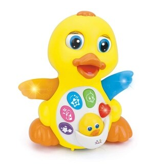 Huile Musical Flapping Duck Educational Toddler Toy with Action Light and Music - Multi-color