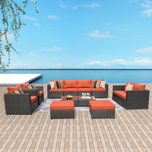 Ovios Patio Furniture Set Big Size Outdoor Furniture 12 Pcs Set Pe Rattan Wicker Sectional With 4 Pillows And 2 Furniture Covers Overstock 29258352