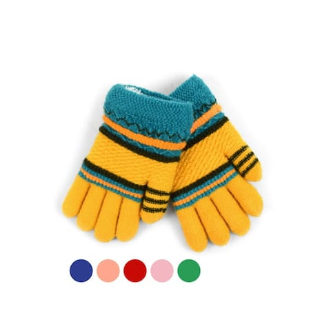 Children's Striped Fleece Lined Winter Gloves