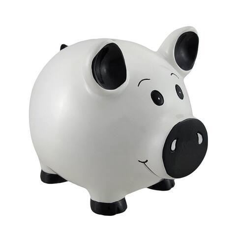 White Piggy Coin Savings Piggy Bank - 5 X 5.5 X 4 inches