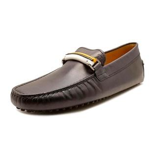 Tod's Fascia Stripe New Gommini Square Toe Leather Loafer