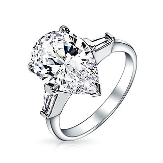 Bling Jewelry .925 Silver Classic Pear Baguette CZ Engagement Ring