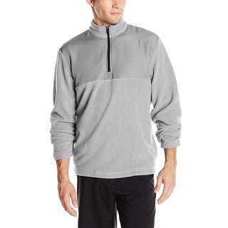 PGA TOUR Mixed Media Quarter Zip Fleece Sweatshirt Sleet Grey Large L