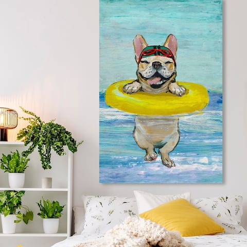 Oliver Gal 'Hello Sea Dog' Animals Wall Art Canvas Print Dogs and Puppies - Blue, Yellow