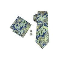 Men's Blue Yellow & Green Paisley 100% Silk Neck tie Hanky Cufflinks Set - 59 inch x 3.4 inch