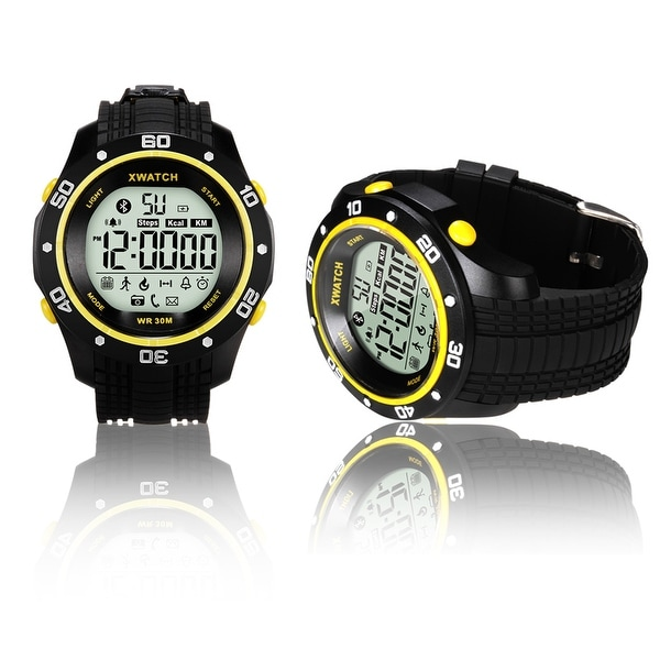 Indigi® Waterproof Bluetooth 4.0 Watch + Call & SMS Notification + Pedometer + Stopwatch + 1 Year Battery (Yellow)