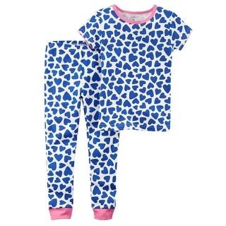 Carter's Baby Girls' 2-Piece Heart Snug Fit Cotton PJs, Blue Hearts, 18 Hearts