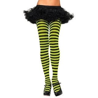 UA900GB Morris Costumes Women's Tights Striped Blk Neon Green ,One Size