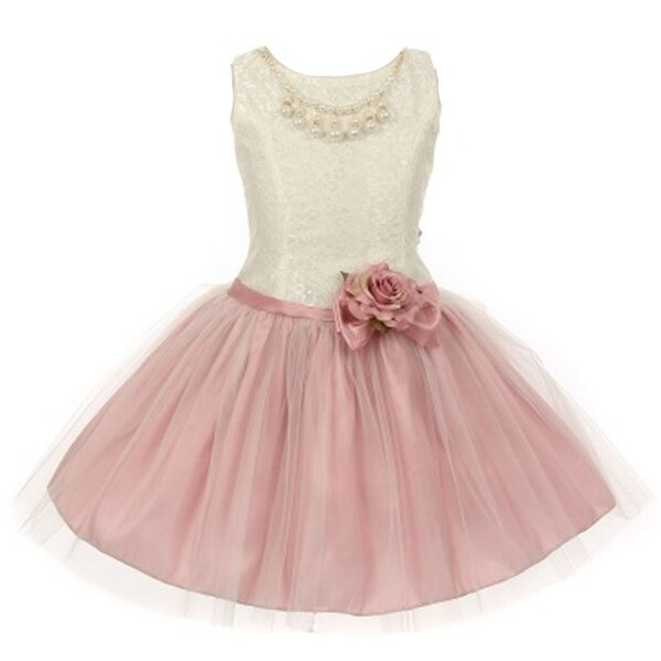 0caca46ee Shop Little Girls Dusty Rose Lace Taffeta Pearl Stone Accent Flower ...