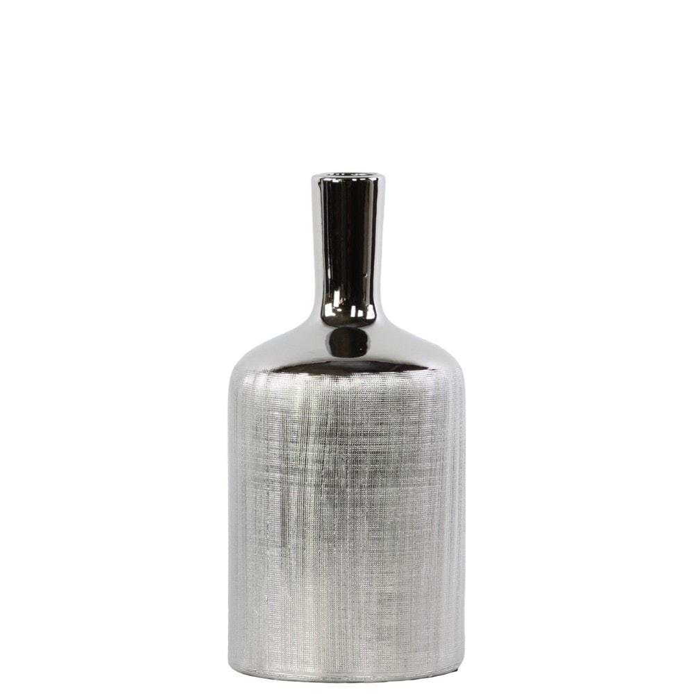 Patterned Bottle Shaped Ceramic Vase With Long Elongated Neck, Medium, Silver