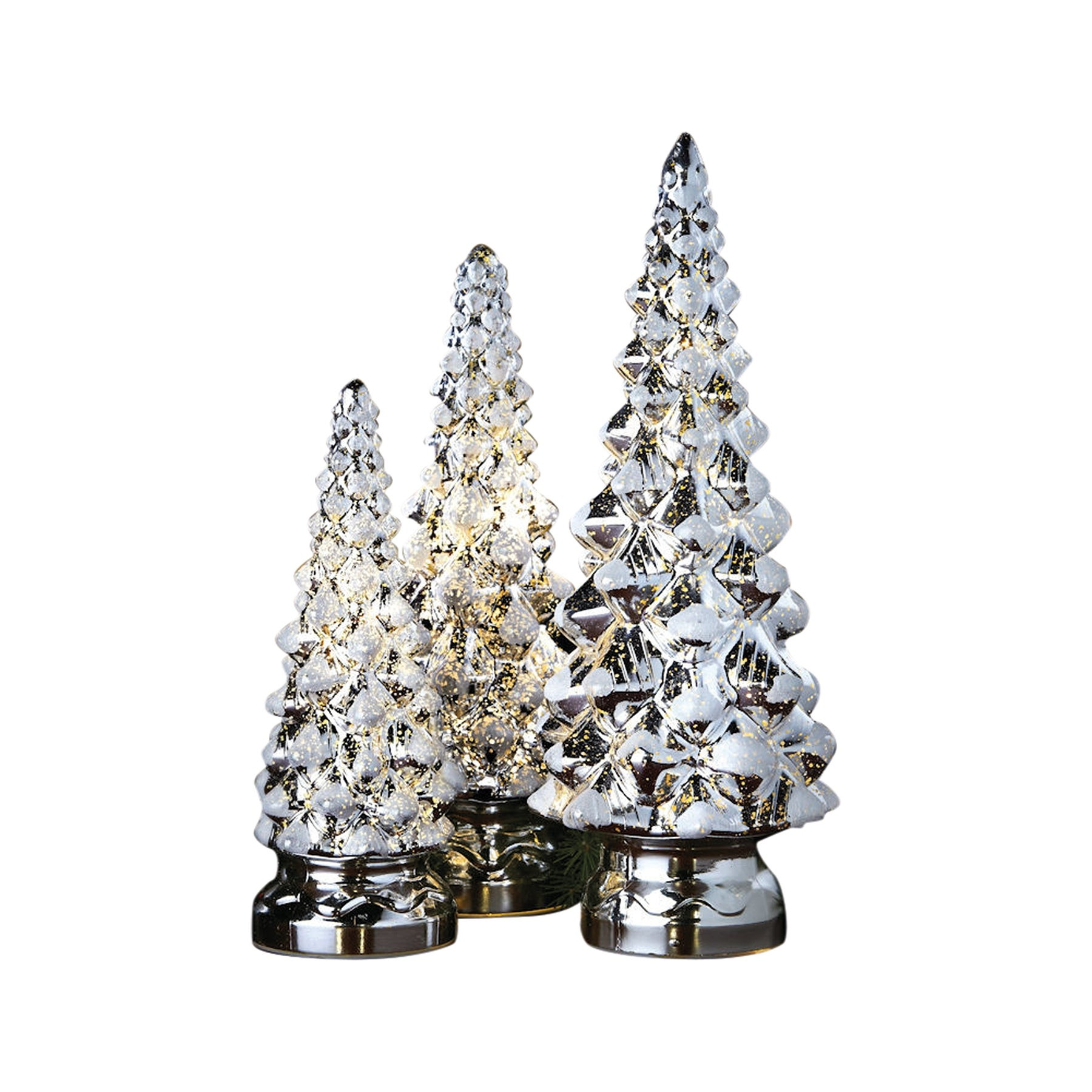 Mr Christmas Ling Trees 10 Inch 12 And 14 Silver Set Of 3 16 In X 8