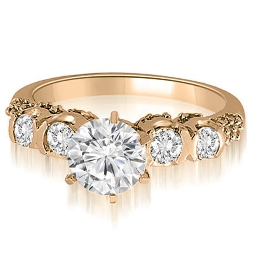 1.48 cttw. 14K Rose Gold Round Cut Diamond Engagement Ring