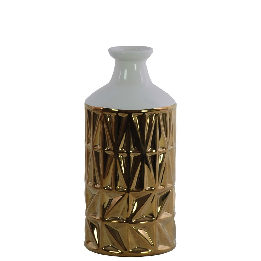 Round Ceramic Vase With White Banded Rimmed Top, Small, Chrome Gold