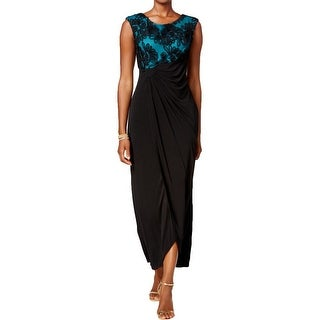 Connected Apparel Womens Petites Evening Dress Soutache Faux-Wrap