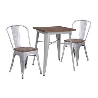"Offex 23.5"" Square Silver Metal Table Set with Wood Top and 2 Stack Chairs - N/A"