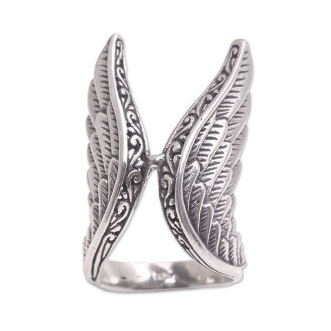 NOVICA Winged Glory, Sterling silver cocktail ring