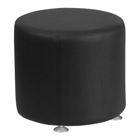 "Offex Hercules Alon Series 18"" Contemporary Design Black Leather Round Ottoman"