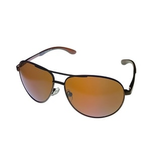 Timberland Mens Sunglass Black Metal Aviator, Brown Gradient TB7114 2B - Medium
