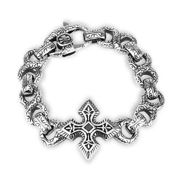 316L Steel Cast Bracelet Large Celtic Cross With Engraved Figure 8 Links (33 mm) - 8.5 in