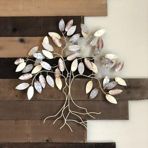 Handmade Leafed Tree Wall Decor Cool Color