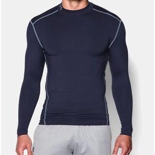 Under Armour Mens ColdGear Armour Compression Mock Long Sleeve Shirt Navy Medium